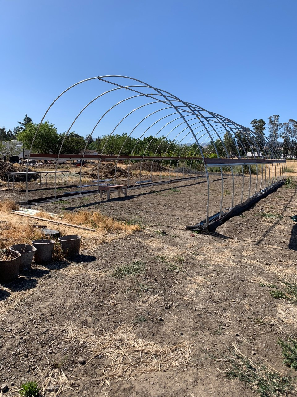 Construction of the new hoop house at Fertile GroundWorks