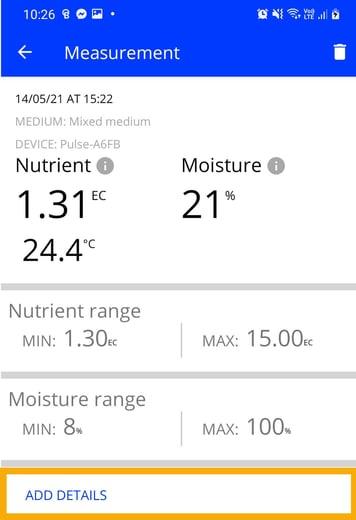 Measurement screen in the Pulse app